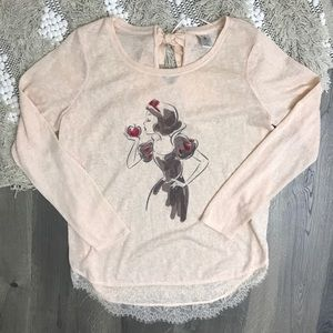 LC Snow White Disney Lace Embellished Sweater